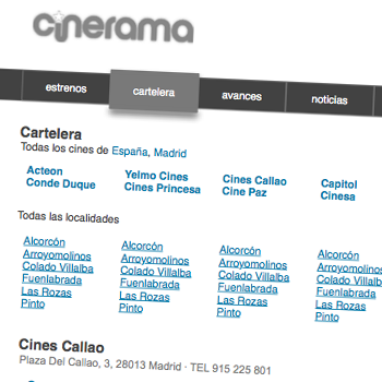 Cinerama. Copywriting y prototipado del sitio.